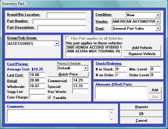 Winworks AutoShop provides a powerful inventory management function